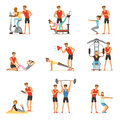 Personal gym coach trainer or instructor set, people exercising under control of personal trainer of vector