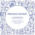 Personal hygiene blue line banner. Set of elements of shower, soap, bathroom, toilet, toothbrush and other cleaning pictograms. Li Royalty Free Stock Photo