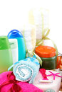 Personal hygiene items. Accessories for sauna or spa. Royalty Free Stock Photo