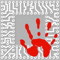 Personal identification by handprints computer te technology concept vector illustration Stock Images