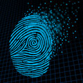 Personal information encryption and private data protection as a digital fingerprint being pixelated into encrypted pixels as a Stock Image
