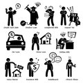 Personal liabilities pictogram clipart set of representing the of a person this includes credit card debt student loan unexpected Stock Photography