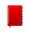 Personal organizer leather notebook on the white vector illustration Stock Photography