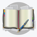 Personal organizer with pen blue Royalty Free Stock Photography