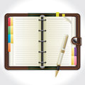 Personal organizer with pen illustration background Stock Image