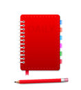 Personal organizer with pensil leather notebook and isolated on the white vector illustration Royalty Free Stock Images
