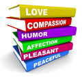 Personal qualities positive on books concept of lessons in great traits Stock Images