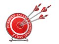 Personal skills business concept three arrows hitting the center of a red target where is written Royalty Free Stock Photo
