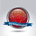 Personal trainer over gray background vector illustration Stock Photos