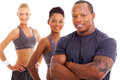 Personal trainer team close up portrait of handsome male and Royalty Free Stock Photos