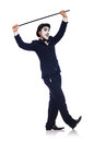 Personification of charlie chaplin on white Royalty Free Stock Photography