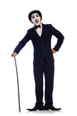 Personification of charlie chaplin on white Stock Photos