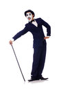 Personification of charlie chaplin on white Stock Image