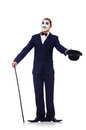 Personification of charlie chaplin on white Royalty Free Stock Images