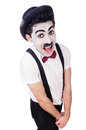 Personification of charlie chaplin on white Royalty Free Stock Photo