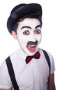 Personification of charlie chaplin on white Stock Images