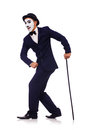 Personification of charlie chaplin on white Stock Photography
