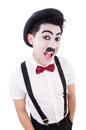 Personification of charlie chaplin on white Royalty Free Stock Photos