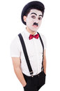 Personification of charlie chaplin on white Stock Photo