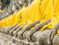 Perspective of buddha statues in the temple wat yai chai mongkol in ayutthaya the ancient capital thailand Stock Photography