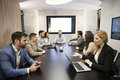 Perspective businesspeople having meeting in conference room Royalty Free Stock Photo