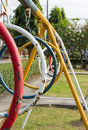 Perspective equipment in the playground. Royalty Free Stock Photo