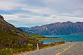 Perspective of highway road freeway to lake hawea in wanaka new zealand Royalty Free Stock Image