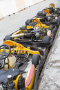 Perspective row of Go-kart Royalty Free Stock Images