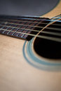 Perspective view of an acoustic guitar looking at the sound hole and part of the neck Royalty Free Stock Photography