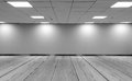 Perspective view Empty Space Monotone Black White Office Room with Row Ceiling LED Light Lamps and Lights Shade on Wall