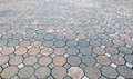 Perspective view of Grunge Color Brick Stone on The Ground for Street Road. Sidewalk, Driveway, Pavers Royalty Free Stock Photo