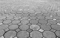 Perspective view of Grunge Gray Brick Stone on The Ground for Street Road. Sidewalk, Driveway, Pavers Royalty Free Stock Photo