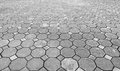 Perspective View of Monotone Grunge Gray Brick Stone on The Ground for Street Road. Sidewalk, Driveway, Pavers, Pavement in Vintag Royalty Free Stock Photo