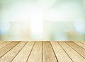 Perspective wood and blurred store with bokeh background Royalty Free Stock Photo