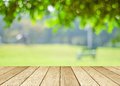 Perspective wood over blur trees with bokeh background Royalty Free Stock Photo