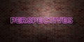PERSPECTIVES - fluorescent Neon tube Sign on brickwork - Front view - 3D rendered royalty free stock picture Royalty Free Stock Photo