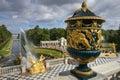 级联全部pertergof彼得斯堡圣徒 库存照片