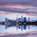 Perth Skyline Reflected In The...