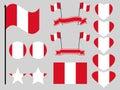 Peru flag set symbols, flag in heart. Vector Royalty Free Stock Photo
