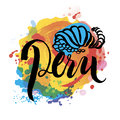 Peru hand lettering and colorful watercolor elements background. Royalty Free Stock Photo