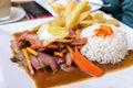 Lomo Saltdao, typical peruvian food, Peru Royalty Free Stock Photo