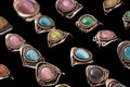 Peruvian artisian ring collection of made cat s eye rings Stock Photos