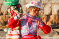 Peruvian girl dancing in traditional dress yanque peru august garb the morning light Stock Photo