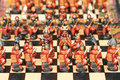 Peruvian handmade stone chess set Royalty Free Stock Photo