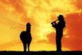 Peruvian man at sunset Royalty Free Stock Photo