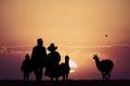 Peruvian people at sunset Royalty Free Stock Photo