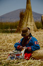 Peruvian Woman Knitting Royalty Free Stock Photography