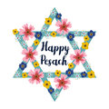 Pesach Passover greeting card with jewish star and flowers, illustration background
