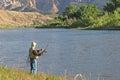 Pescador fly fishing no green river Imagem de Stock Royalty Free