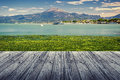 Peschiera del garda on lake in italy with wood floor Stock Photography